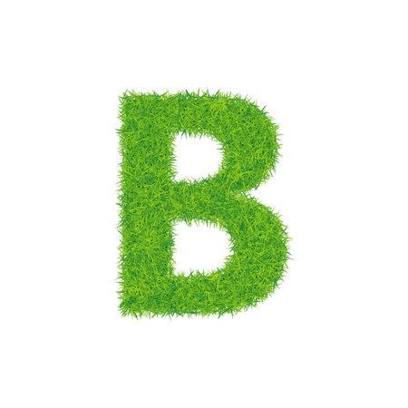 Green grass letter b on white background