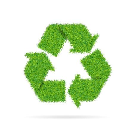 Teken recycling met gras textuur geïsoleerd op een witte achtergrond. Vector Illustratie
