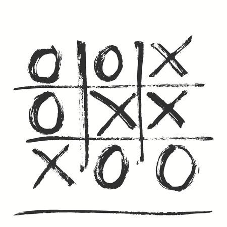 Hand-drawn tic tac toe game. Vector illustration. Vektorové ilustrace