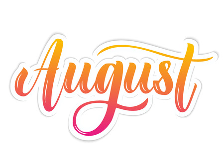 August Hand Drawn Lettering. Vector illustration. Çizim
