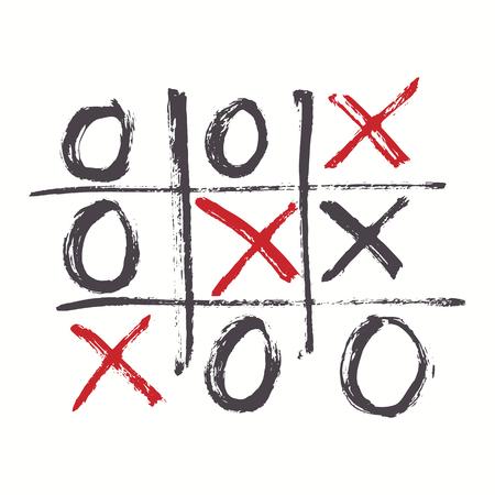 Handgezeichnetes Tic Tac Toe-Spiel. Vektorillustration.