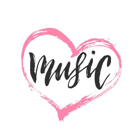 Music, handwritten lettering. Vector illustration of