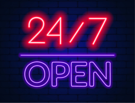 Neon sign 24 7 on brick wall background. Vector illustration of EPS 10