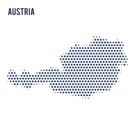 Dotted map of Austria isolated on white background. Vector illustration. Illustration