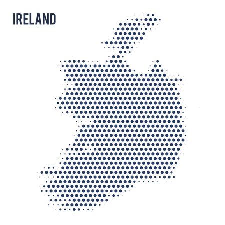 Dotted map of Ireland isolated on white background. Vector illustration. Illustration