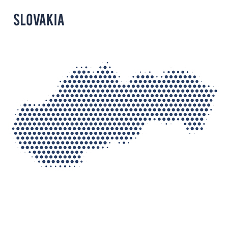 Dotted map of Slovakia isolated on white background. Vector illustration.