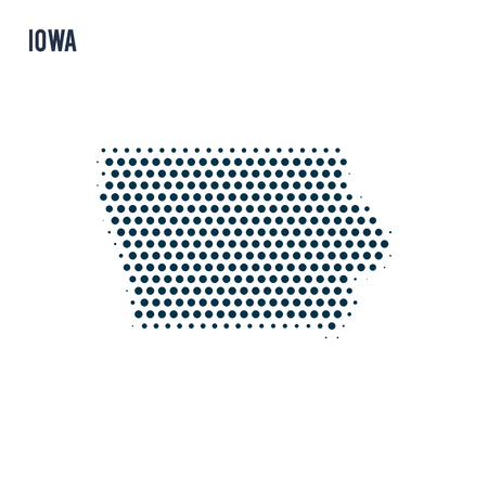 Dotted Iowa map isolated on white background. Vector abstract map of the state.