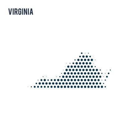 Dotted Virginia map isolated on white background. Vector abstract map of the state.