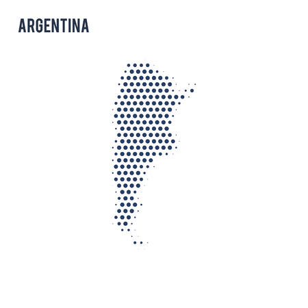 Dotted map of Argentina isolated on white background. Vector illustration.