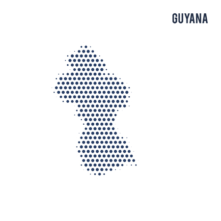Dotted map of Guyana isolated on white background. Vector illustration.