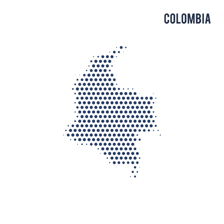 Dotted map of Colombia isolated on white background. Vector illustration.