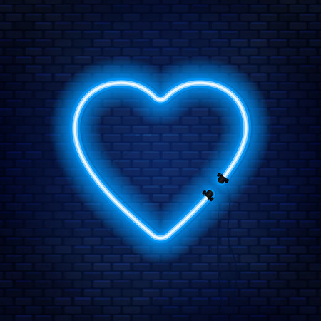 Neon tubes in the shape of a heart isolated on a brick wall background. Sign of love. Can be used as a text frame. Çizim