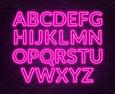 Neon pink alphabet on brick wall background. Capital letter. Vector illustration.