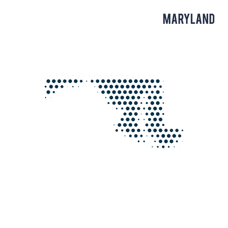 Dotted Maryland map isolated on white background. Vector abstract map of the state.
