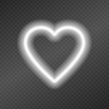Neon tubes in the shape of a heart isolated on a dark transparency grid. Sign of love. Can be used as a text frame. Çizim