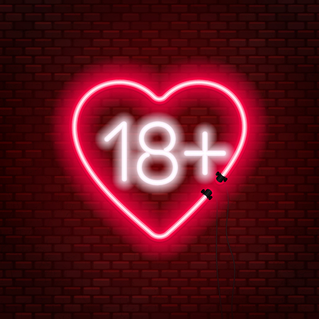 Eighteen plus neon sign on brick wall background. Sign of age limit. Vector illustration