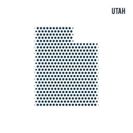 Dotted Utah map isolated on white background. Vector abstract map of the state.