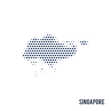 Dotted map of Singapore isolated on white background. Vector illustration.