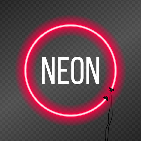 Round neon frame on transparency background. Good for text placement