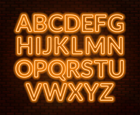 Neon yellow alphabet on brick wall background. Capital letter. Vector illustration.