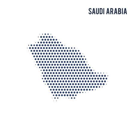Gepunktete Karte von Saudi-Arabien isoliert auf weißem Hintergrund. Vektor-Illustration.