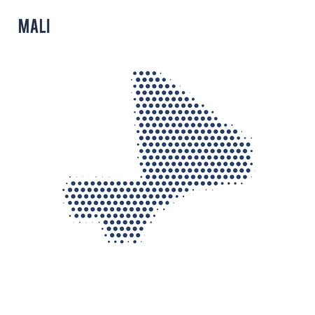 Dotted map of Mali isolated on white background. Vector illustration.
