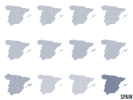 Vector set of abstract maps of Spain in different styles. Vectores