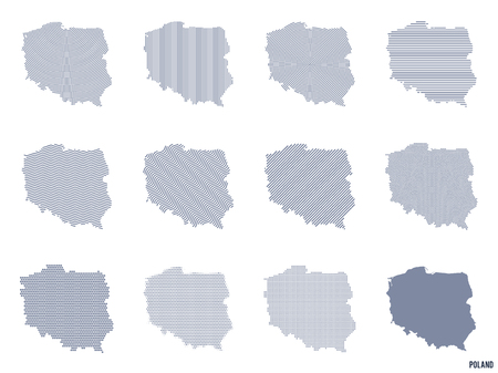 Vector set of abstract maps of Poland in different styles isolated on white background