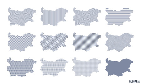 Vector set of abstract maps of Bulgaria in different styles isolated on white background