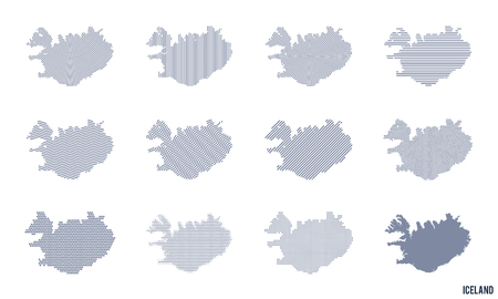 Vector set of abstract maps of Iceland in different styles isolated on white background