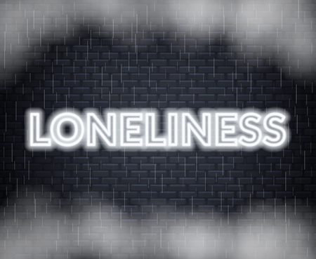 Loneliness neon lettering. Sad mood. Vector illustration EPS 10