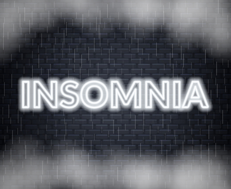 Insomnia neon lettering. Sad mood. Vector illustration