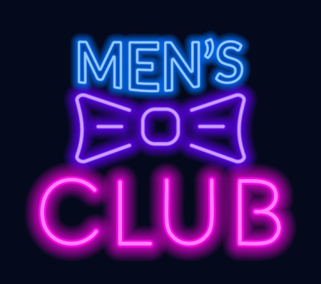 Neon lettering Men's club on dark background.Vector illustration.