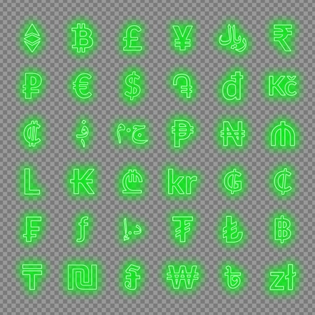Neon currency signs. dollar, euro, pound sterling,yen, yuan, bitcoin, etherium ruble and others Vector neon icons