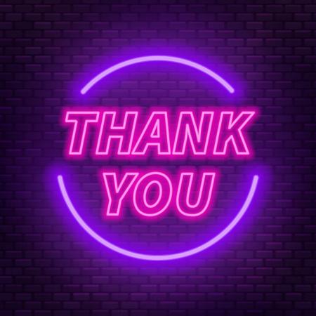 Neon-Schriftzug danke auf dunklem Hintergrund. Vektor-Illustration.