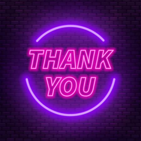 Neon lettering thank you on a dark background. Vector illustration.