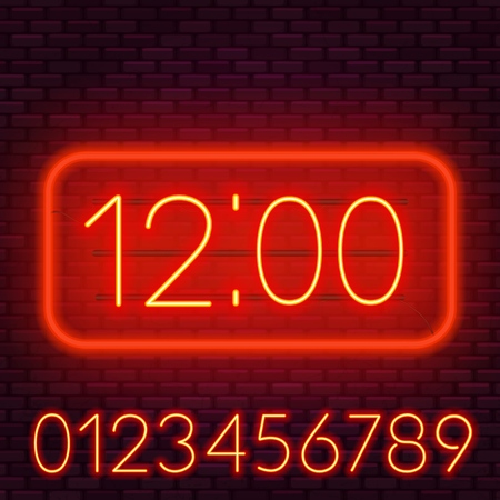 Template clock on a dark background. Bright neon numbers. Illustration