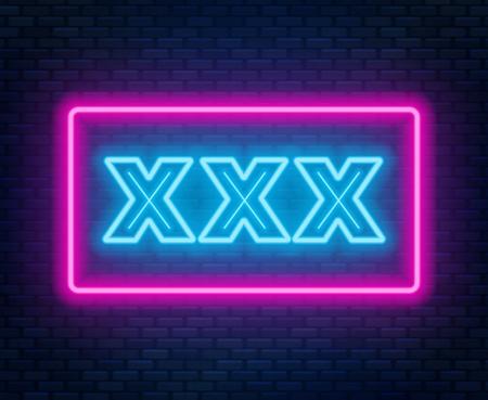 Signo de neón XXX sobre un fondo oscuro. Ilustración de vector