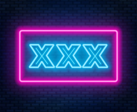 XXX neonowy znak na ciemnym tle. Ilustracje wektorowe