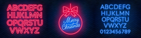 Neon sign merry christmas on a dark background with bright alphabets. Can be used for greeting card, invitation and other. Vector illustration.