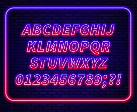 Blue red gradient neon alphabet on a dark background . Capital letter.Vector illustration.