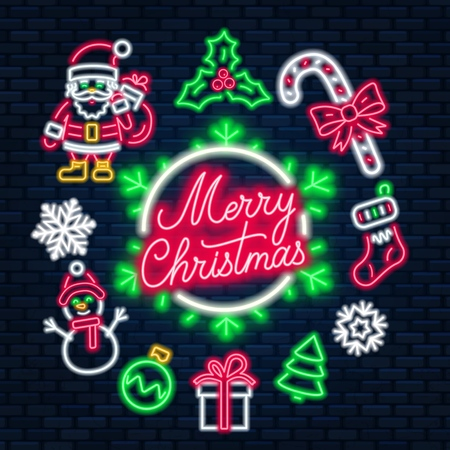 Neon lettering Merry Christmas on dark background. Vector illustration.