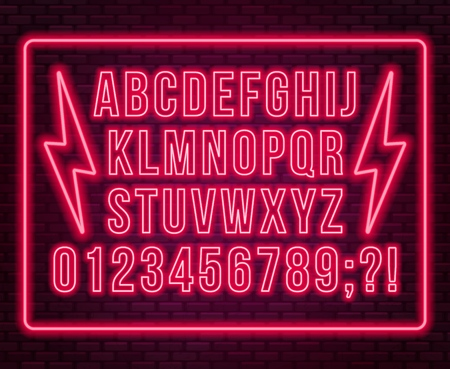 Neon red font. Bright capital letters with numbers on a dark background. Vector illustration. Illusztráció