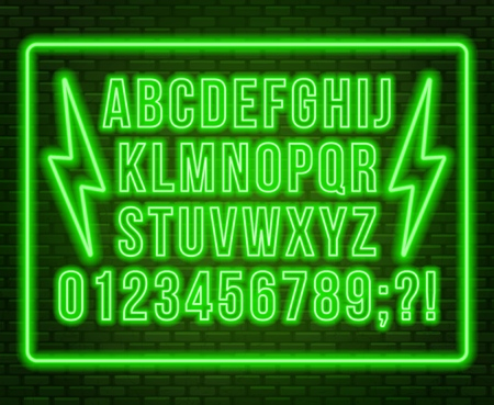 Neon green font. Bright capital letters with numbers on a dark background. Vector illustration. Illusztráció