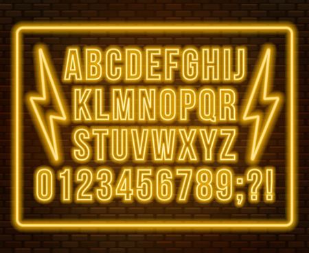Neon yellow font. Bright capital letters with numbers on a dark background. Vector illustration.
