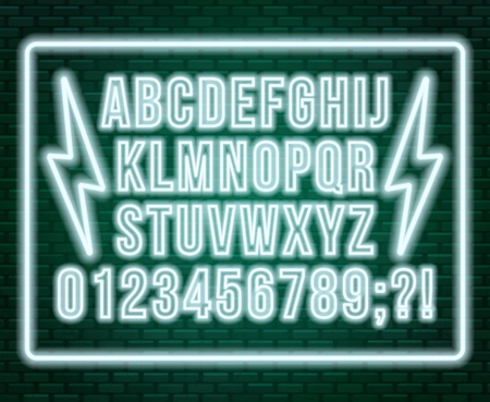 Neon white font. Bright capital letters with numbers on a dark background. Vector illustration. Illusztráció