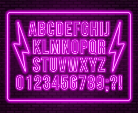 Neon pink font. Bright capital letters with numbers on a dark background. Vector illustration.