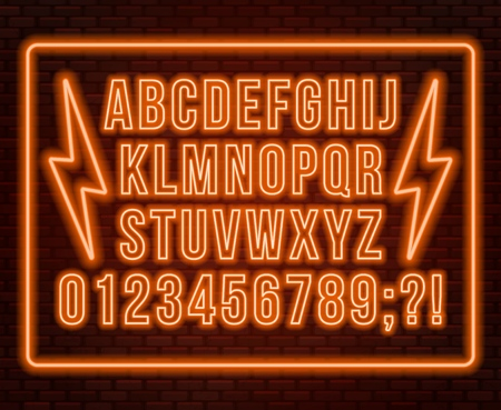 Neon orange font. Bright capital letters with numbers on a dark background. Vector illustration.