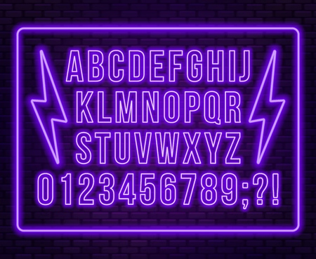 Neon purple font. Bright capital letters with numbers on a dark background. Vector illustration. Illusztráció