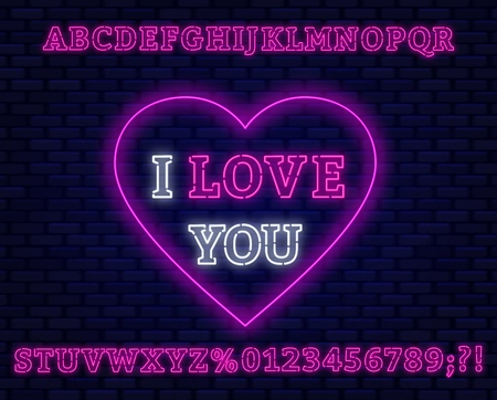 Neon sign I love you on a dark background. Pink font. Vector EPS 10.
